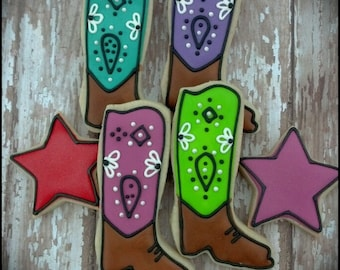 Cowgirl Cowboy Boot Western Themed Birthday Decorated Sugar Cookies