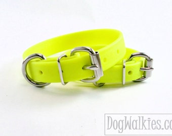 """Sunny Neon Yellow 3/4"""" (19mm) Beta Biothane  Dog Collar- leather look and feel - Custom Dog Collar - Stainless Steel or Brass Hardware"""