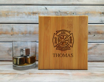 Whiskey Stones | Personalized Bamboo Case | Gift Set | Fire Department | Stainless Steel | Laser Engraved | Fathers Day Gift | Set of 9