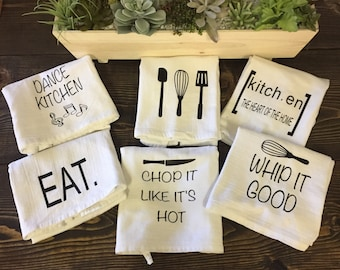Flour Sack Towels, Tea towels, Farmhouse kitchen Decoration, Kitchen Towels, Mother's Day gift, Wedding Gift,
