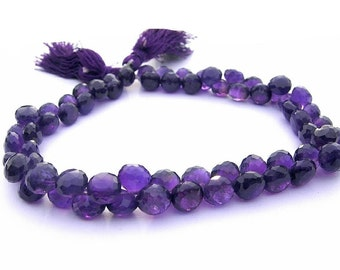 1/2 Strand - African Amethyst Micro Faceted Onion Briolettes Size 6 - 7mm approx
