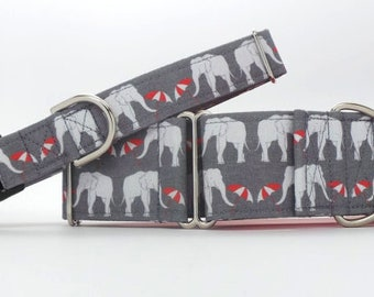 Elephant's On Parade CANVAS Pet Collar (Martingale, Buckle, or Tag)