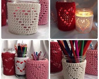 Heart Shape Jar Candle Cover - Crochet PDF Pattern