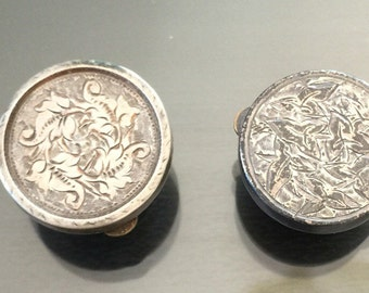 Two Batchelor Buttons, Sterling  c1890