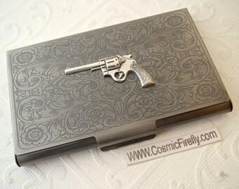 Wild West Silver Gun Antiqued Silver Business Card Case Victorian Steampunk Card Holder Cowboy Gun Card Holder