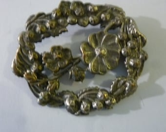 """Art Nouveau Brooch Oval Floral Sculptural Metal Dress Pin 'C' Clasp Brushed Nickel 2 1/4""""  X  2"""" 1900's"""