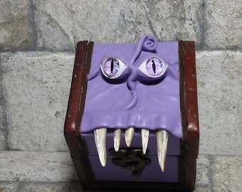 Mimic Desk Organizer Trinket Dice Box Small Storage Treasure Chest Stash Purple Leather Gamer MTG Card Box 259