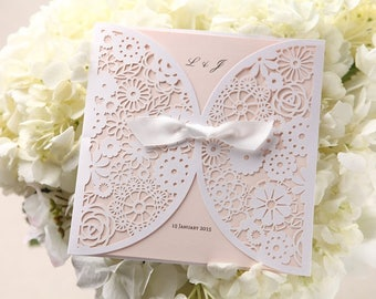Dainty Floral Laser Cut Wrap Wedding Invitation, Silky Bow  - BH2065