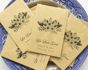 "Personalised Seed Packets Let Love Grow Wedding Favor Envelopes Custom Printed Seed Envelopes Recycled kraft 3.7/8x2.5/8"" 98x67mm 100 pack"