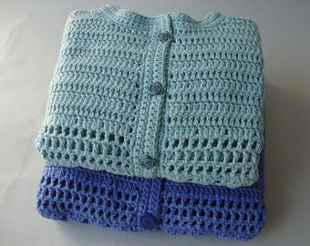 Crochet Cardigan, Cardigan Women, Blue Cardigans, Cotton Cardigan, Crocheted Cardigans, Gift for Her, Mom Gift, Wife Gift, Available in M/L