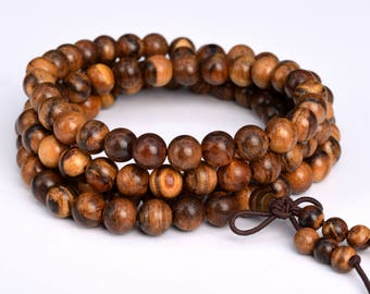 "108 Pcs - 8MM Qinan Sandalwood Mala Beads Fragrant Natural Wood Round Beads 35"" (80056)"