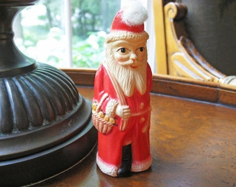 Antique 1930's Celluloid Santa Belsnickle with Doll & Basket - Victorian Style Holiday Decor Christmas Decoration