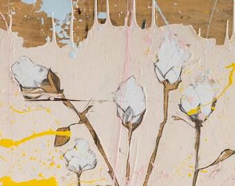 Botanical art Print, Blush pink decor, Botanical print set, botanical poster, cotton artwork, cotton illustration #904BO