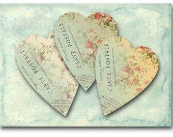 Carte Postale Hearts Digital Collage Sheet Download -373- Digital Paper - Instant Download Printables