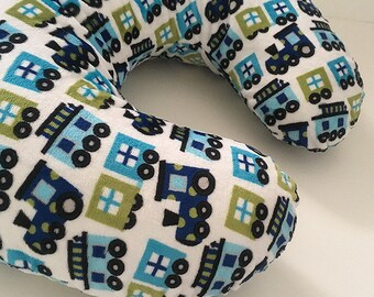Boppy Cover in Blue Train Print Minky Minky Nursing Pillowcover, baby gift, shower gift