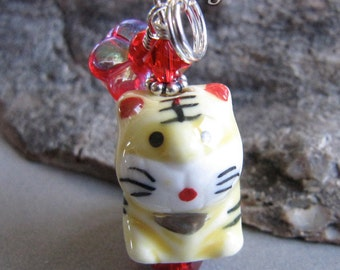 Maneki Neko Tiger Cat Year of the Tiger Charm Zipper Pull by Cornerstoregoddess