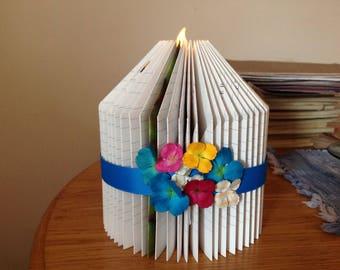 Book Fold Pillar Candle Sculpture Colorful Flowers