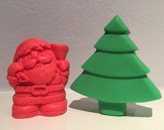 Christmas Soap Set / Holiday Soap / Santa Soap / Pine Tree / Goat Milk Soap / Stocking Stuffer / READY TO SHIP