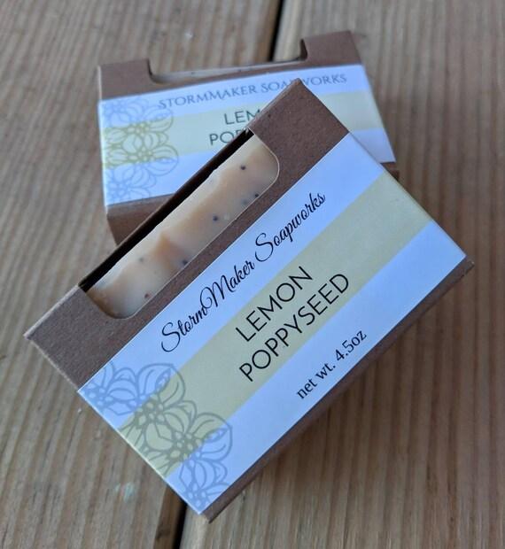 All Natural Lemon Poppy Seed Bar Soap, Handmade Soap