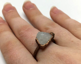 Rose Quartz Crystal Ring, Size 5.5 ring, Rose Quartz Ring, copper ring, quartz jewelry, gifts for her, gifts for her, rose quartz jewelry