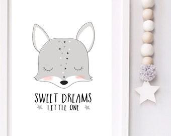 Sweet dreams little one Modern Monochrome Fox Nursery typography print