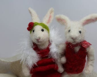 Date Night needle felted wool rabbit couple