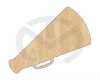 Unfinished Wood Megaphone Laser Cutout, Wreath Accent, Door Hanger, Ready to Paint & Personalize, Various Sizes