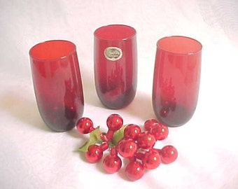 Anchor Hocking Royal Ruby Red Roly Poly 13 Ounce Ice Tea Tumblers, 1940s - 1960s Old Colored Glassware, Vintage Kitchen Collectible Glass