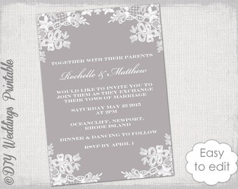 "Wedding invitation template DIY ""Floral Lace"" wedding invitations printable Mercury gray invites YOU EDIT Word digital download"