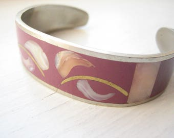 Vintage Alpaca cuff bracelet, pink enamel, mother of pearl, leaf pattern, Mexican cuff, silver and brass, MOP cuff, Mexico