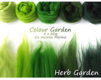 Green Merino Shade sets - 21 micron Merino wool - 100g - 3.5oz - 5 x 20g - Colour Garden - HERB GARDEN