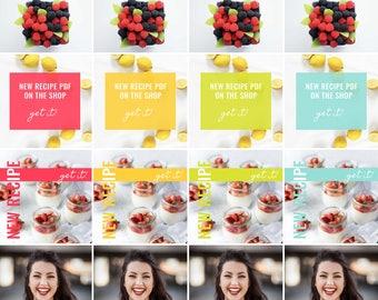 4 Social Templates - Post Templates for Instagram, Pinterest, or Blog