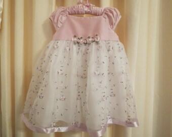 Vintage Pink Roses Girl Dress Wedding Flower Girl Christening Size 2-3