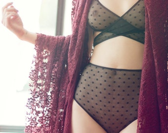Kelly lingerie set. Criss cross bralette and high waist knickers. made to order