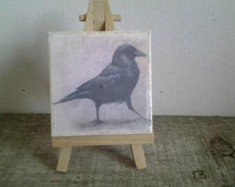 Dancing Crow, Mini Print on Mini Easel