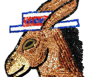 "Democrat Donkey Appliqué with Vote Hat, Sequin Beaded, 8"" x 7.5""  -B025"