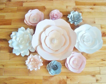 Set of 9 Paper Flowers - Baby Nursery | Home Decor | Flower Wall | Paper Flower Backdrop | Baby Shower | Little Girl's Room