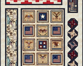 Pride & Glory Fabric Collection by RJR, Patriotic Fabric Kit, Red White and Blue Fabric Kit, Americana Quilt,  Stunning Pieced Quilt