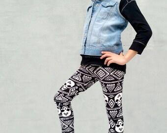 Girls/Kids Skull Printed Leggings for Riot Grrrls, Punk and Goth Kids