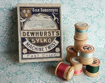 Vintage Dewhurst's Sylko Machine Twist Fast Color Card Box & Wooden Reels x 8 - Box for D.299 Light Lilac