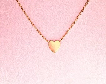 14k gold heart necklace, love necklace, love charm, heart necklace, heart charm, love jewelry, 14k gold necklace, gold heart necklace