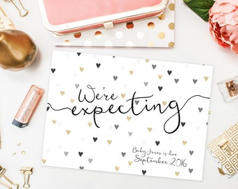 Pregnancy Announcements / We're Expecting / Hearts, Black, Gold / We're Pregnant / Pregnancy Reveal Idea / Digital or Printed Cards
