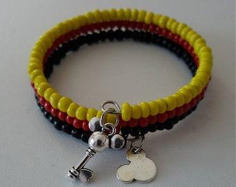 Mickey Mouse, Memory Wire Bracelet, Mickey Mouse Key, Disney
