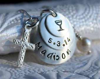 First Communion Necklace - Communion Jewelry - with Sterling Silver Cross and Pearl