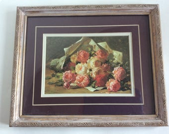 Vintage framed print of pink and cream roses in ornate Antionette pink frame. Painted and distressed frame.