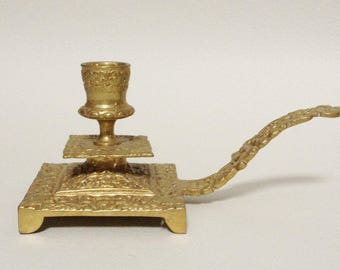 Antique French Brass Candle Holder - Hand Candle Holder