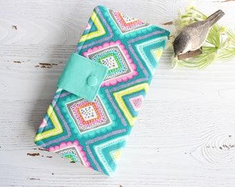 Abstract bright Diamonds  womens Bifold wallet, handmade fabric wallet, womans slim clutch wallet, credit card wallet