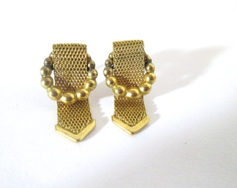 Vintage Earrings Gold Mesh Buckles 1960