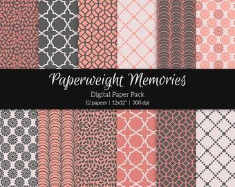 "Digital patterned paper - True Love -  digital scrapbooking - patterned paper - 12x12"" 300dpi  - Commercial Use"