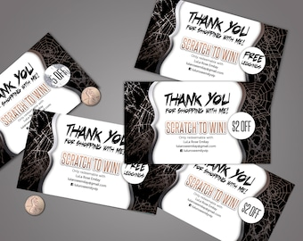 Halloween Scratch Off Card - 5 cards, fully customizable